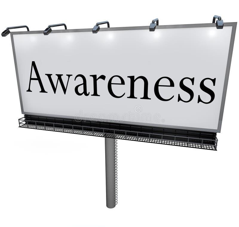 Świadomości słowa billboardu wiadomości Marketingowy znak ilustracji