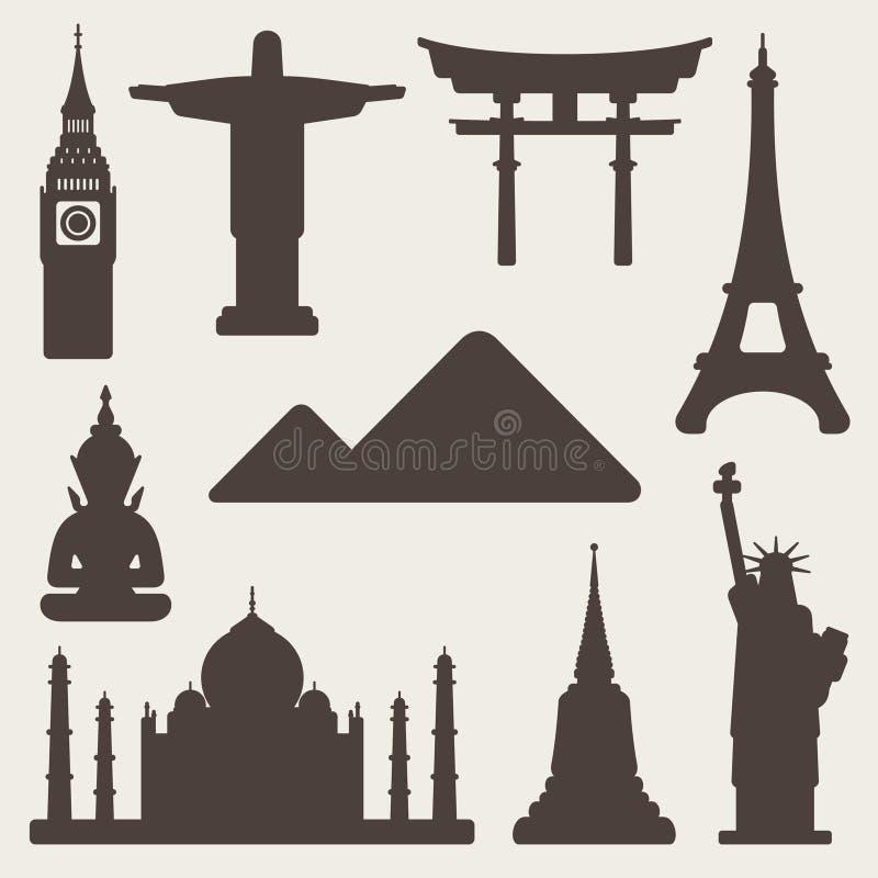 Światów zabytków sławny tło ilustracja wektor