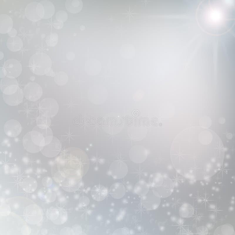 Światła białe na bożego narodzenia popielatym tle royalty ilustracja