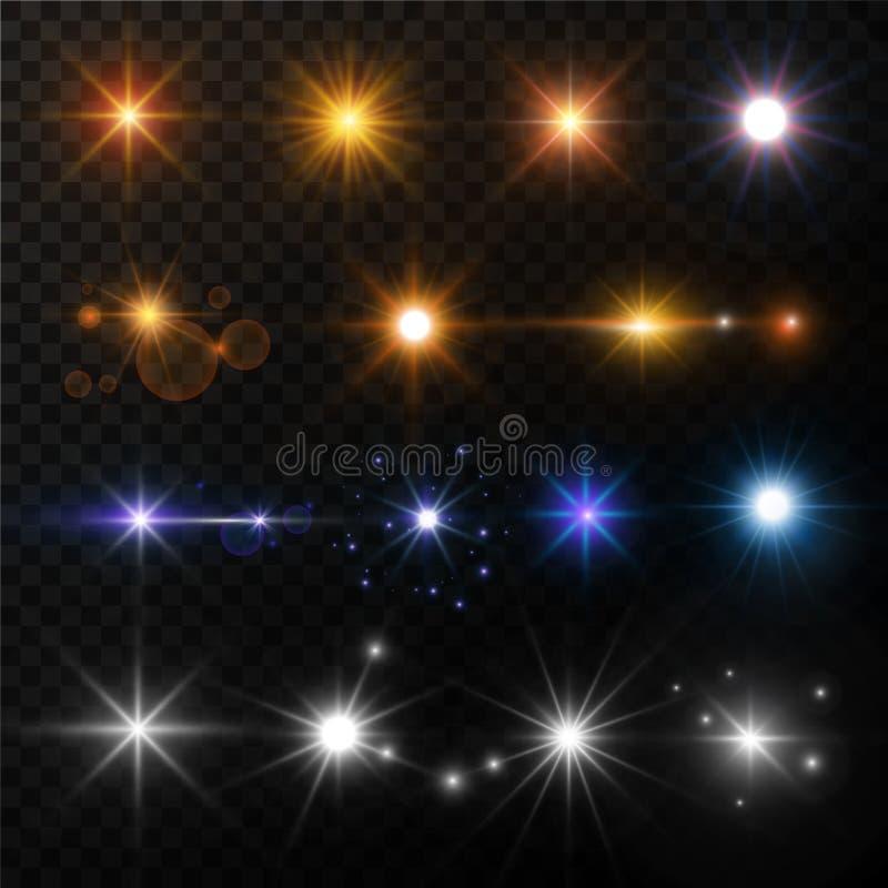 Światła i gwiazda połysku obiektywu racy słońca promieni jarzyć się błyska wektor odizolowywać złociste i neonowe ikony royalty ilustracja