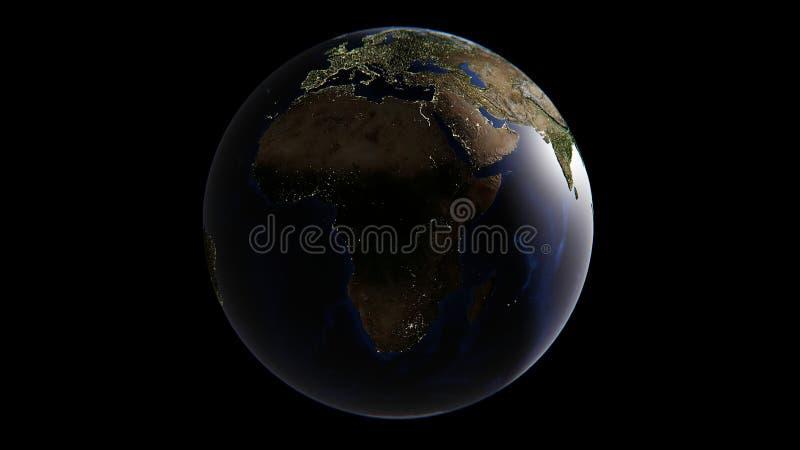 Światła miasta na ziemi, w Azja dniu w Europa i Afryka, przychodzą ranek ilustracji