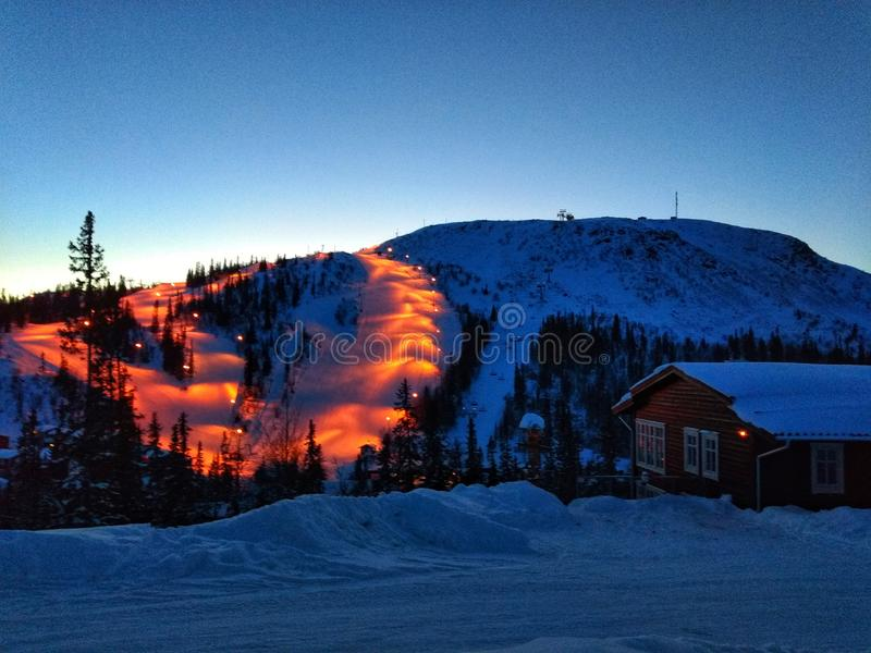 Światła na skarpach narciarskich obrazy royalty free