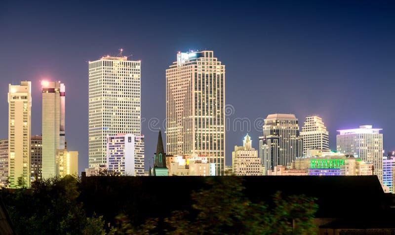 Światła Nowy Orlean, los angeles miasto linia horyzontu przy nocą obraz stock