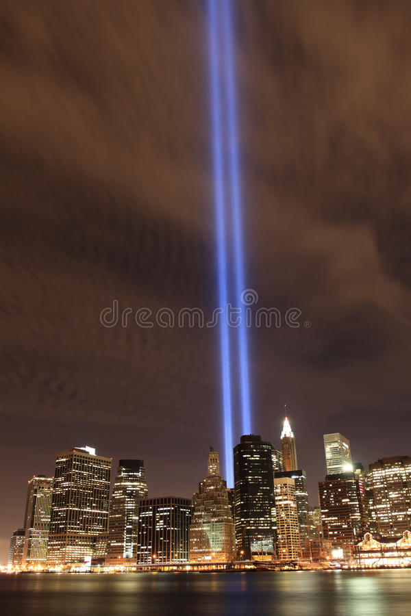 światła obniżają Manhattan linia horyzontu górują zdjęcie stock