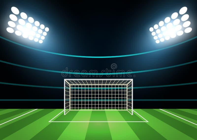 Światła reflektorów i boiska piłkarskiego Karciany tło wektor ilustracji