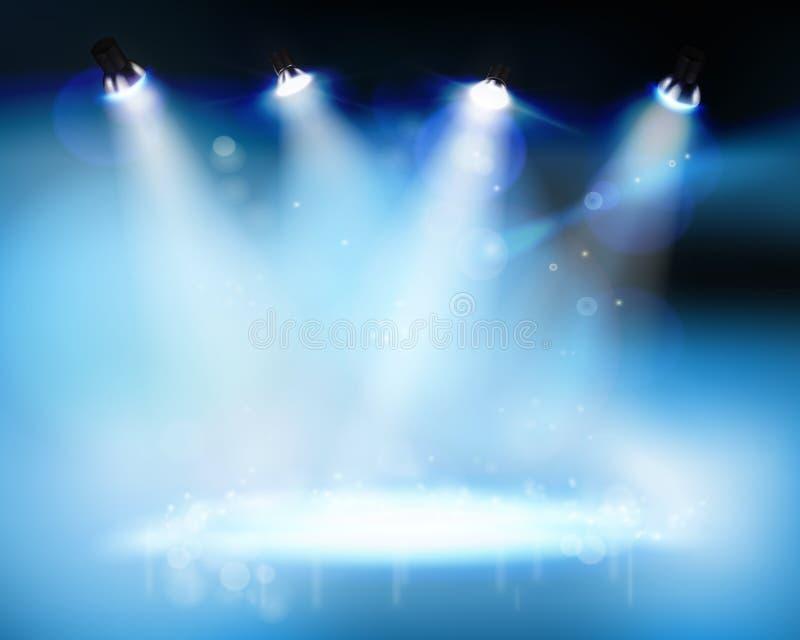 Światła reflektorów iluminuje scenę również zwrócić corel ilustracji wektora ilustracji