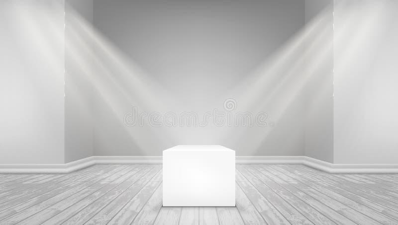 Światła reflektorów Na ekspozycja bielu sześcianie ilustracja wektor