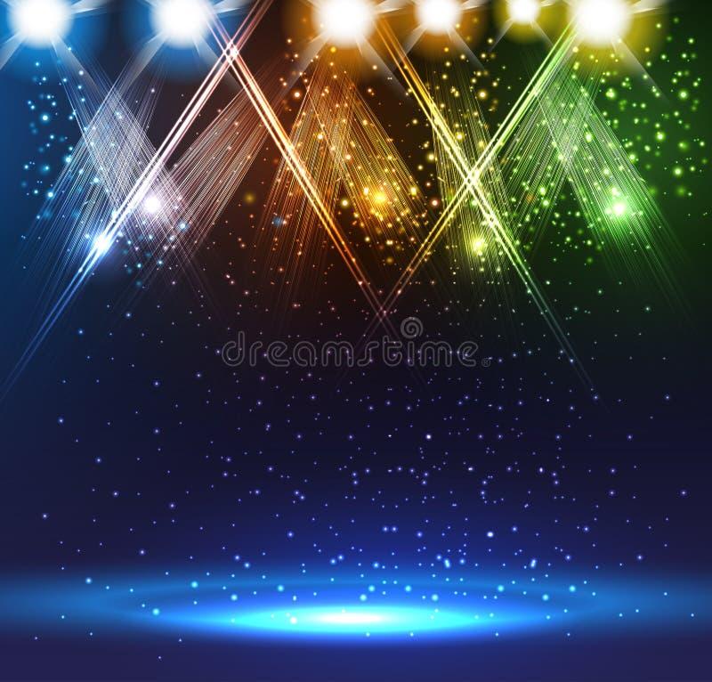 Światła reflektorów na scenie royalty ilustracja