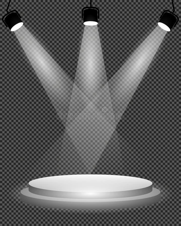 Światła reflektorów na scenie, podium i jaskrawej lekkiej iluminaci na przejrzystym tle, projekta szablon, wektorowa ilustracja royalty ilustracja