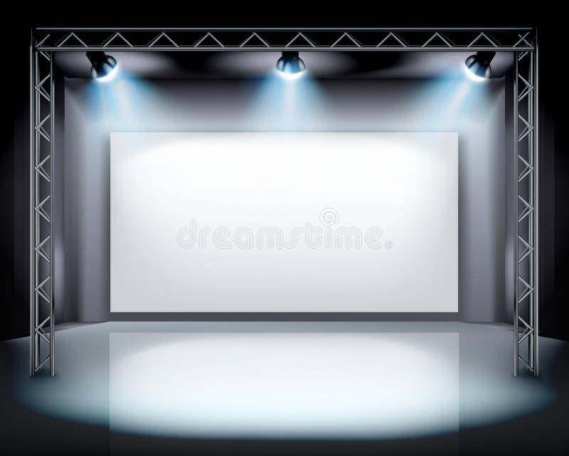 Światła reflektorów na scenie również zwrócić corel ilustracji wektora ilustracja wektor