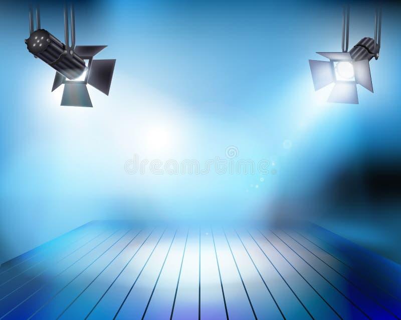 Światła reflektorów na scenie również zwrócić corel ilustracji wektora ilustracji