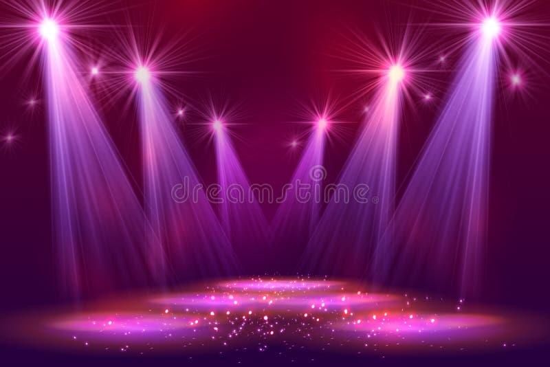Światła reflektorów na scenie z dymu światłem ilustracja wektor