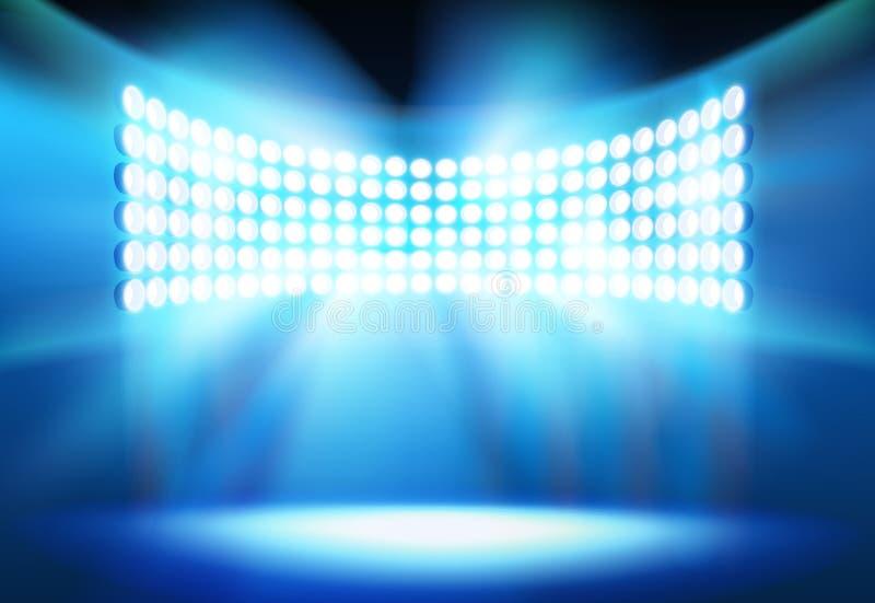 Światła reflektorów na stadium również zwrócić corel ilustracji wektora royalty ilustracja