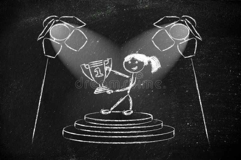 Światła reflektorów na sukcesie, byli numerowy jeden (żeńska wersja) ilustracja wektor