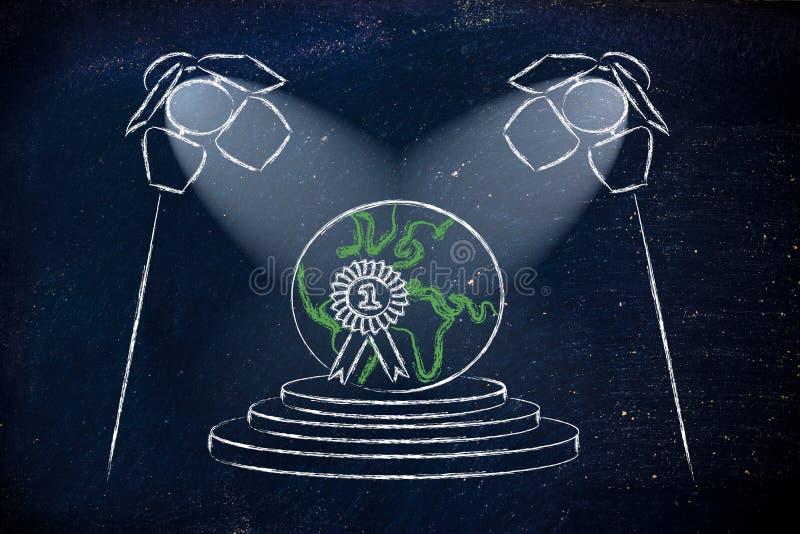 Światła reflektorów na sukcesie, byli numerowy jeden ilustracja wektor