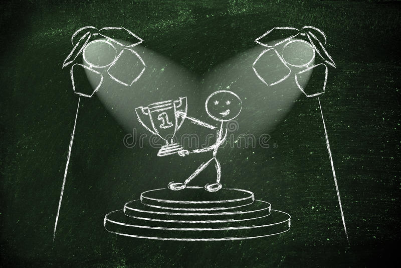 Światła reflektorów na sukcesie, byli numerowy jeden (męska wersja) royalty ilustracja