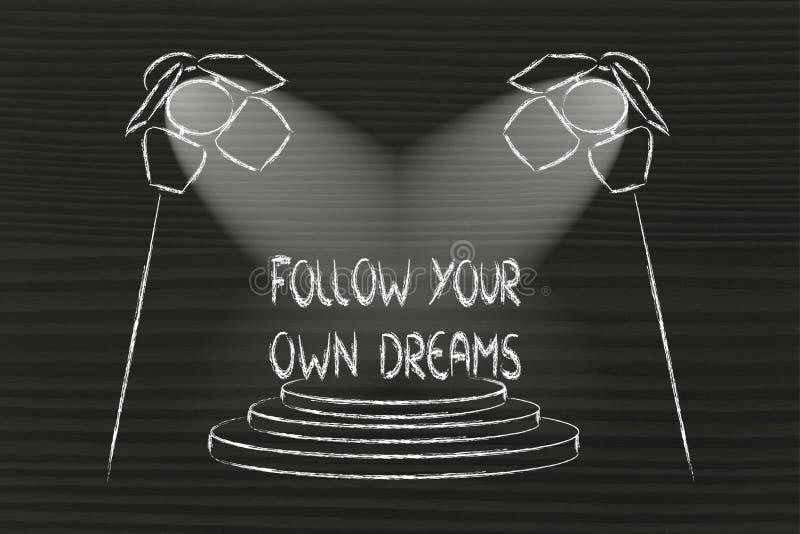 Światła reflektorów na sukcesie, podążają twój swój sen ilustracja wektor