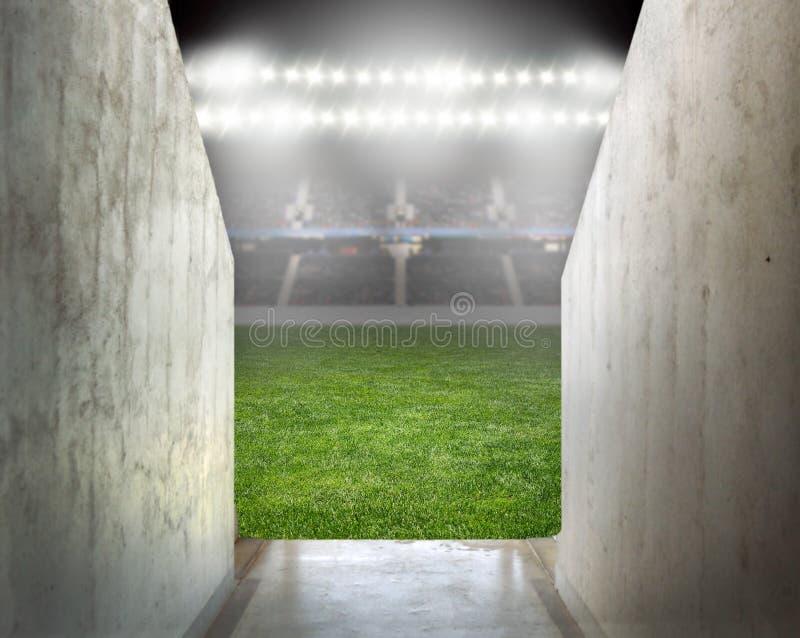 Światła reflektorów przy piłki nożnej areną fotografia stock
