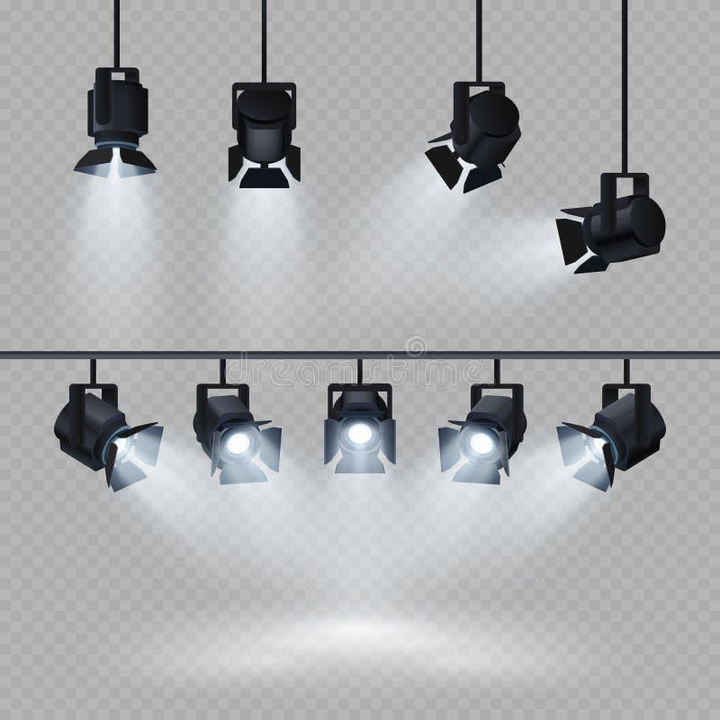 Światła reflektorów z światło białe kolekcją odizolowywającą na przejrzystym tle royalty ilustracja