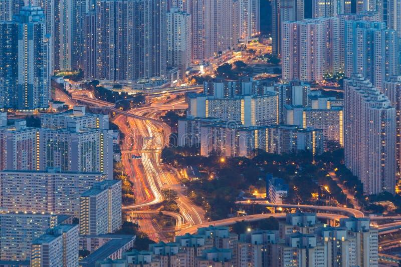 Światła ruchu śladu pejzaż miejski zdjęcie stock