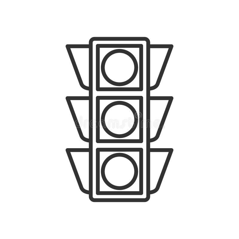 Światła Ruchu konturu Płaska ikona na bielu ilustracja wektor