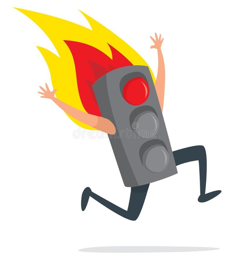 Światła ruchu na pożarniczym bieg desperacko ilustracji