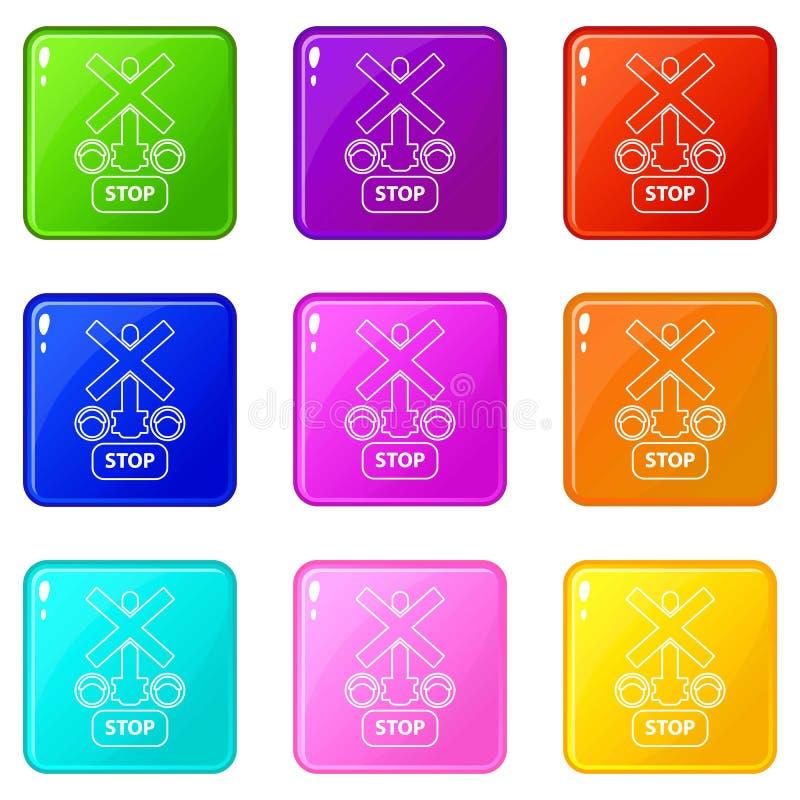 Światła ruchu przerwy kolejowe ikony ustawiają 9 kolorów kolekcję ilustracja wektor