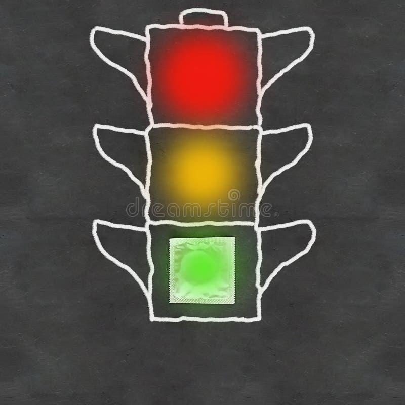 Światła ruchu rysujący na czarnym chalkboard tle, zieleni na pustej kondom paczce, kolorze żółtym i czerwieni pustych, poj zdjęcie royalty free