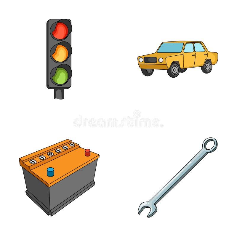Światła ruchu, stary samochód, bateria, wyrwanie, samochód ustalone inkasowe ikony w kreskówka stylu wektorowym symbolu zaopatruj ilustracji