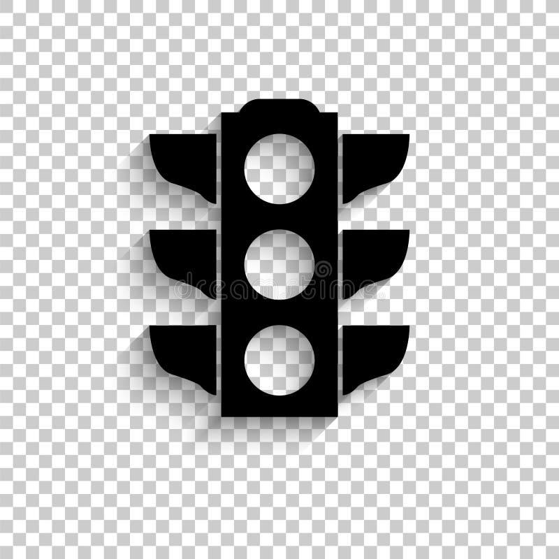 Światła ruchu sygnał - czarna wektorowa ikona royalty ilustracja