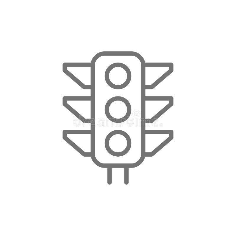 Światła ruchu, sygnałowa lekkiej linii ikona royalty ilustracja