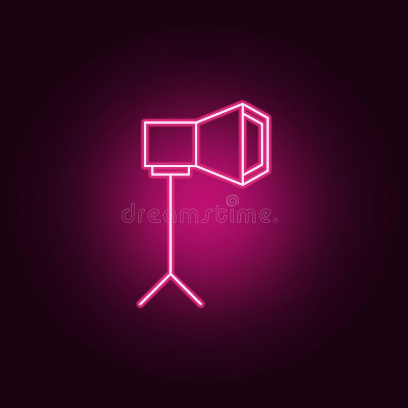 światło dla fotografii ikony Elementy światło reflektorów w neonowych stylowych ikonach Prosta ikona dla stron internetowych, sie ilustracja wektor