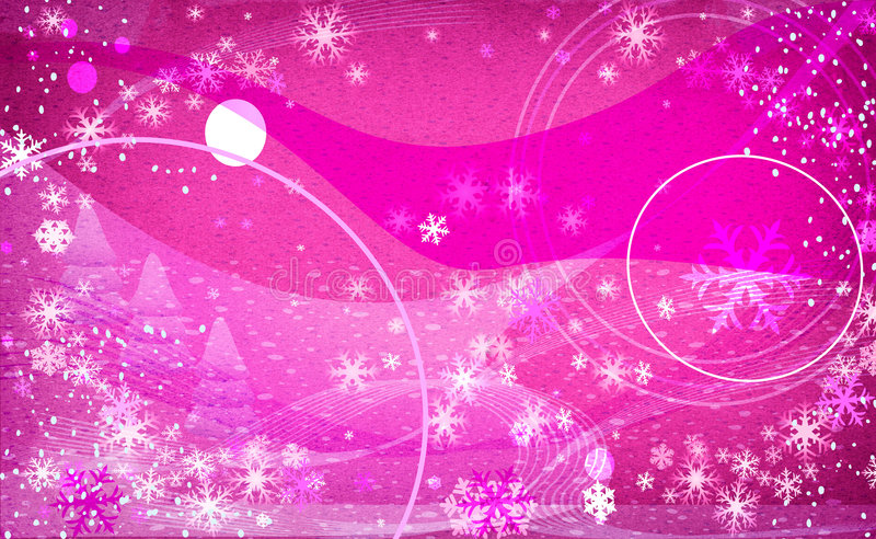 - światło fantazji różowe płatki śniegu ilustracji