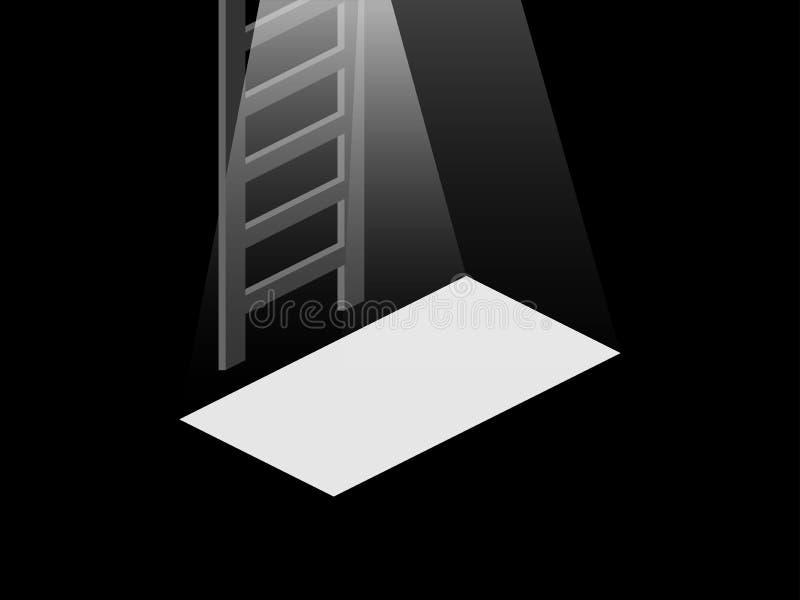Światło od otwarte drzwiego piwnica Schodki od piwnicy wierzchołek wektor royalty ilustracja