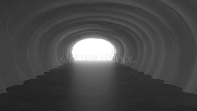 Światło przy końcówką Tunelowa 3d ilustracja royalty ilustracja