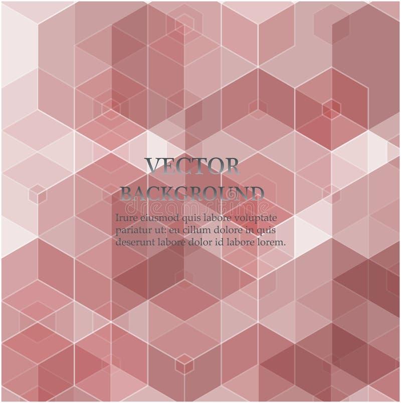 Światło - różowy wektorowy sześciokąt mozaiki wzór Nowożytna abstrakcjonistyczna ilustracja z sześciokątami ilustracja wektor