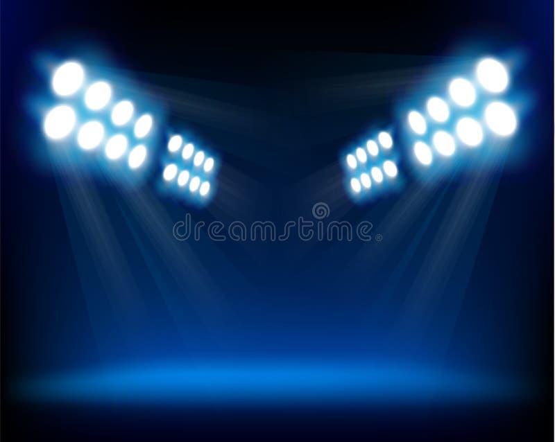 światło reflektorów błękitny ilustracyjny wektor ilustracja wektor