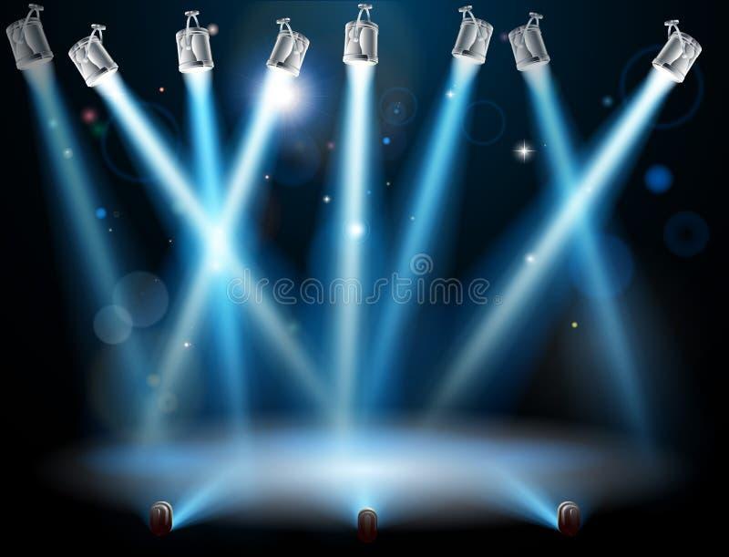 Światło reflektorów błękitny tło royalty ilustracja