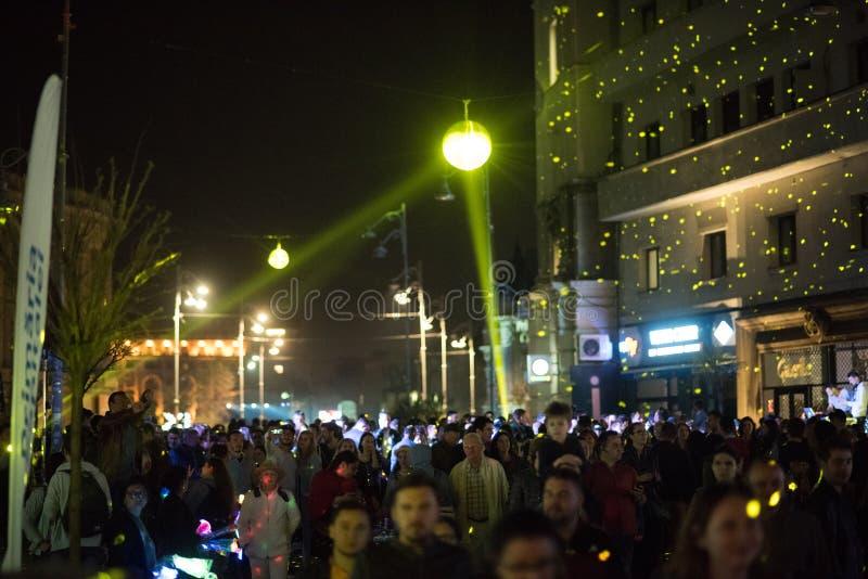 Światło reflektorów festiwal, Bucharest, Rumunia - 12 2018 Kwiecień obrazy royalty free