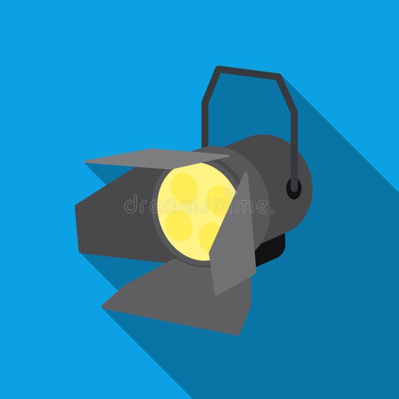 Światło reflektorów ikona w mieszkanie stylu odizolowywającym na białym tle Źródło światła symbolu zapasu wektoru ilustracja ilustracji