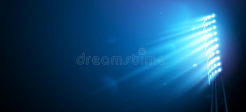 Światło reflektorów na Futbolowej arenie ilustracja wektor