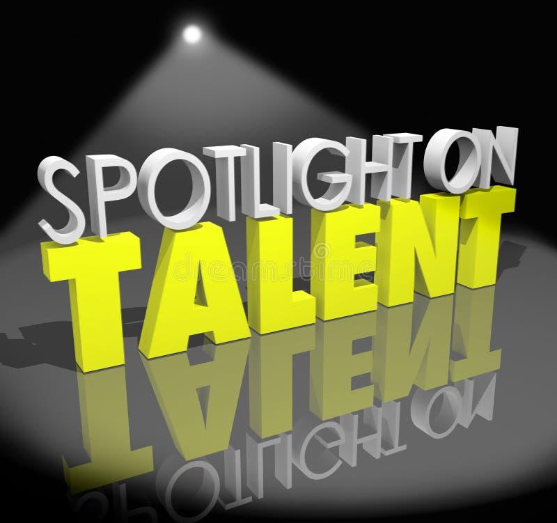 Światło reflektorów Na talencie Twój moment Błyszczeć umiejętności zdolność Showca ilustracji