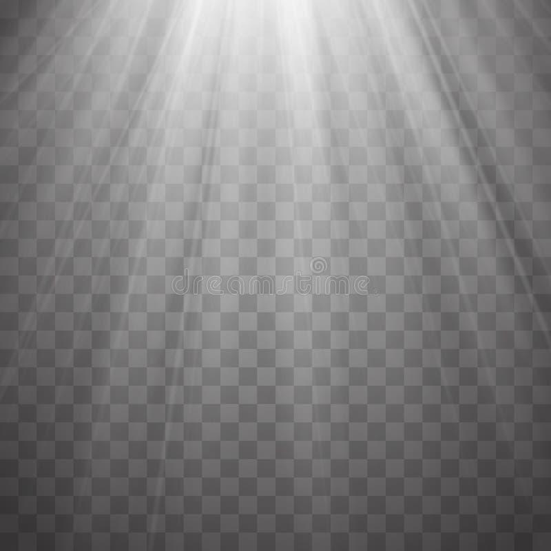 Światło reflektorów promienie z promieniami na przejrzystym tle Błyskowy lekki wektor royalty ilustracja
