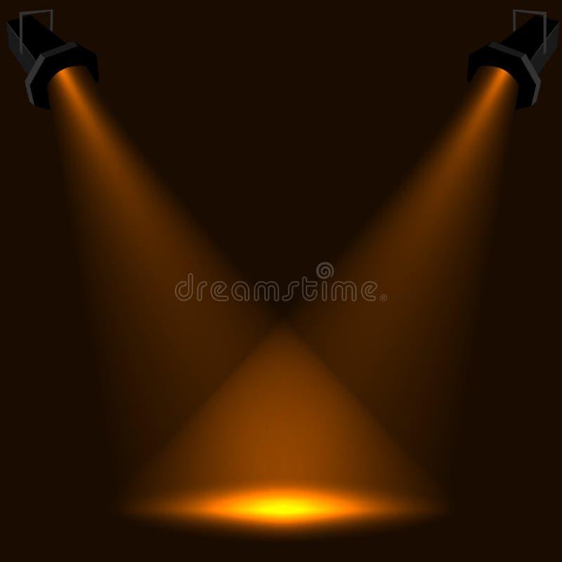 światło reflektorów scena ilustracji