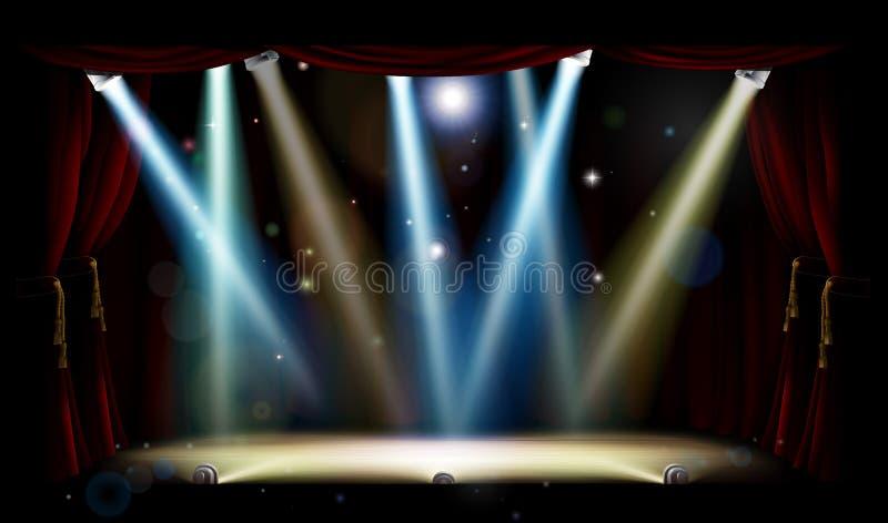 Światło reflektorów teatru scena ilustracji