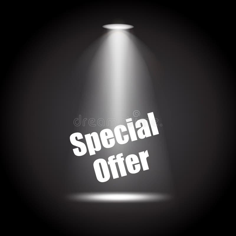 Światło reflektorów z Specjalnej oferty sceny czerni tłem eleganckim ilustracji
