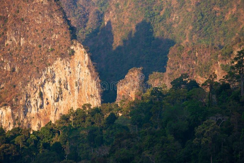 Światło słoneczne błyszczy przez gór i lasu zdjęcie stock