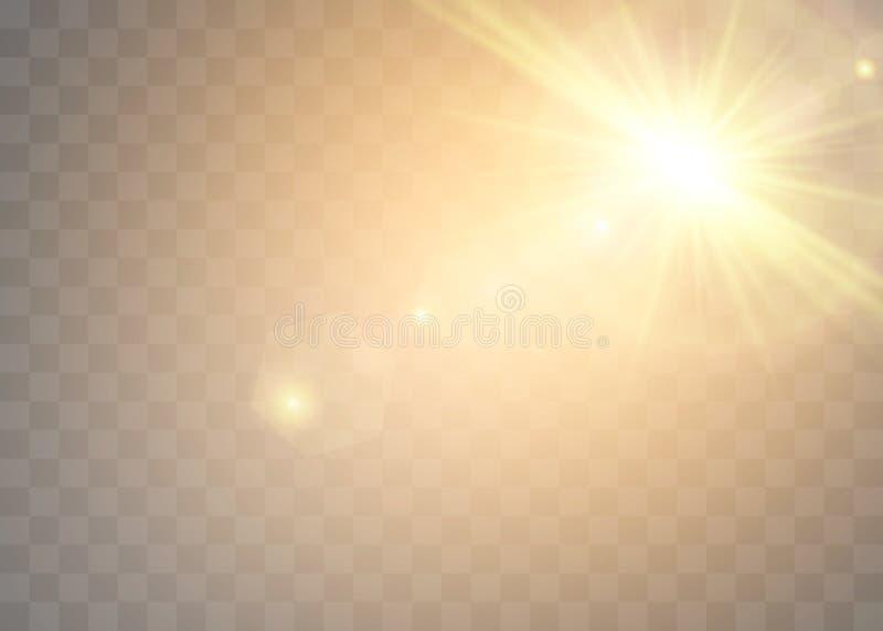Światło słoneczne na przejrzystym tle Jarzeniowi lekcy skutki Gwiazda błysnął cekiny Słońca świecenie na przejrzystym tle ilustracji