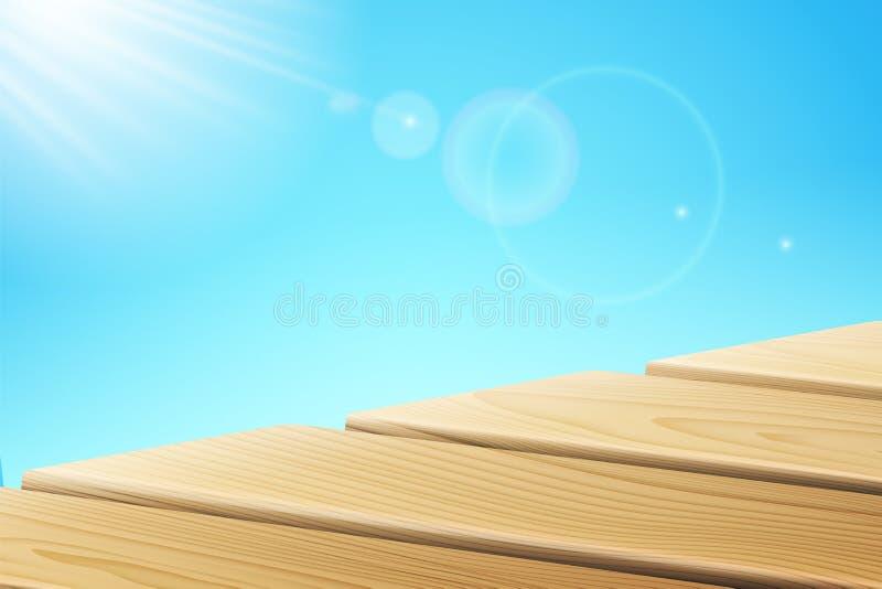 Światło słoneczne promienieje blisko drewnianego mola ilustracji