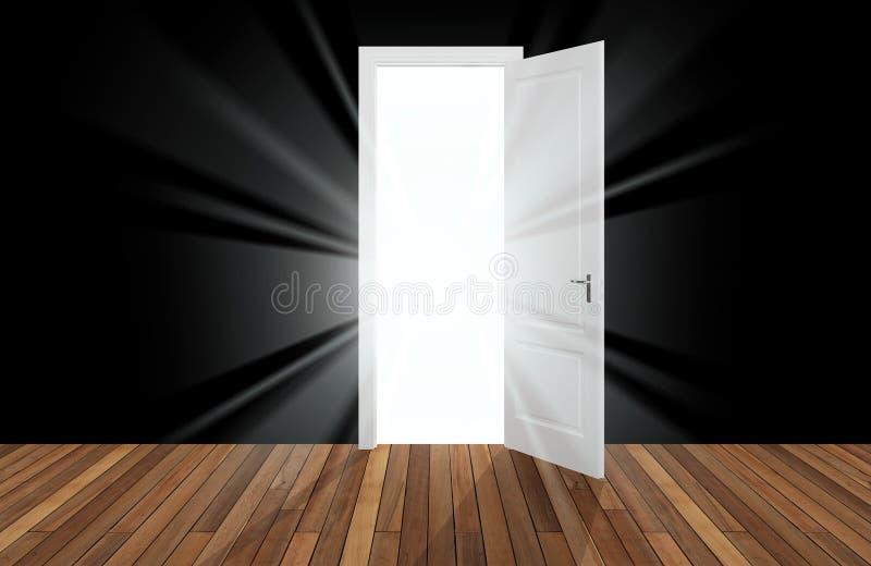 Światło słoneczne za otwarcia drzwi ilustracja wektor
